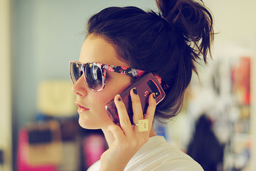blackberry, bun, girl, glasses, phone