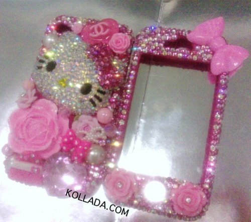 bling, bling bling, bow, chanel, diamonds, flower, girl, glitter, heart, hello kitty, iphone, iphone 4, iphone 4s, kim kardashina, kollada, luxury, pearls, phone case, phone cover, pink, pretty, purse, rich, swarovski, swarovski crystals
