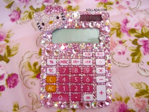 bling, bling bling, calculator, crystals, cute, deco, decoden, hello kity, kollada, luxurious, luxury, math, pink, pretty, swarovski