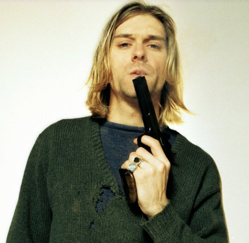 blonde, blue, cobain, green, gun