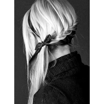 blonde, bow, braid, fashion, girl, hair, ribbon, style, trencita