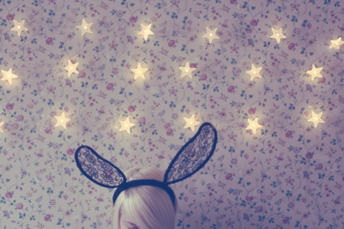 blonde, bunny, bunny ears, cute, ears, star, vintage, wall