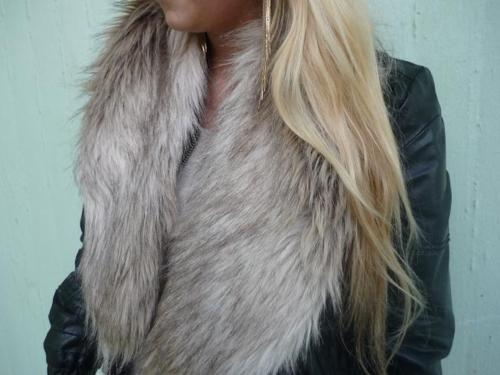 blonde, fake fur, fashion, fur, girl