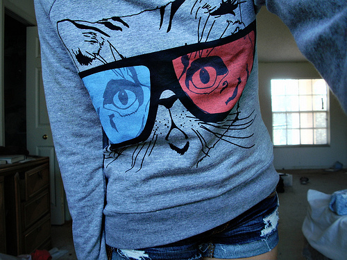 blue, cat, clothers, cool, fashion, girl, glasses, jeans, photography, pretty, pullover, shorts, style