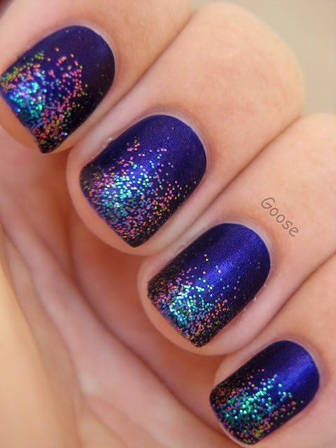 blue colors glitter nails pretty image 306985 on