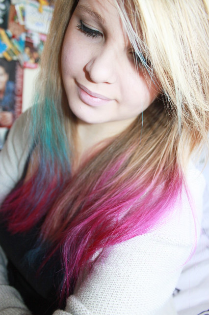 blue, colourfull, girl, hair, life, pink