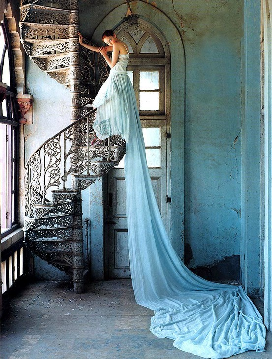 blue dress, gorgeous, lovely, princess gown, romantic, spiral staircase
