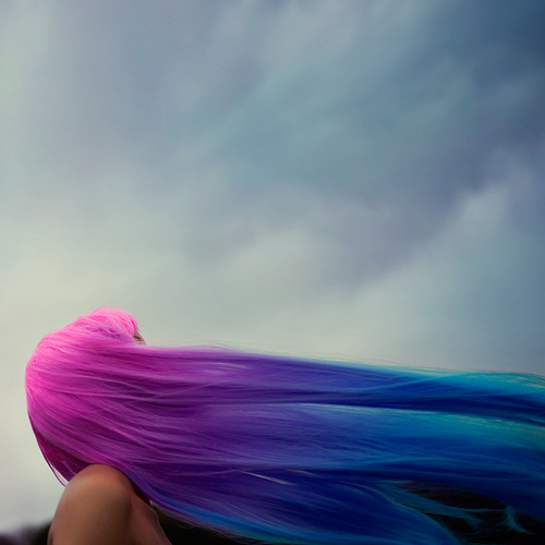 blue, dyed hai, dyed hair, girl, hair, purple, rainbow, sky, wig