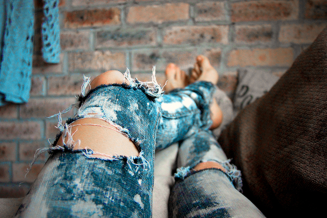 blue, feet, jeans, tattered, torn