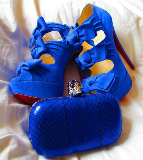 blue, heels, matching, purse, shoes