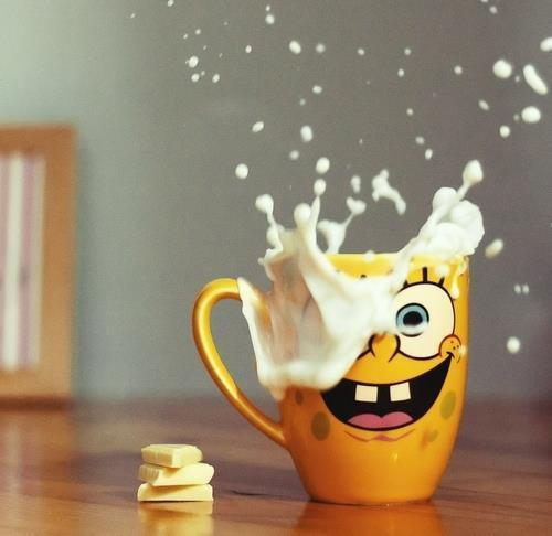 bob esponja, chicara, chocolate, cool, cute, delicious, love, yelow