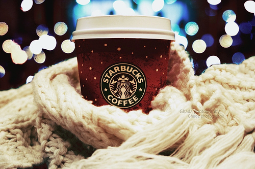 bokeh, christmas, lights, starbucks, starbucks coffee, winter