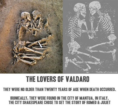bones, couple, death, died, romeo and juliet, shakespeare, skeletons, william, young