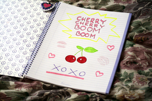 boom, cherries, cherry, cute, drawing, notebook, pink, xoxo