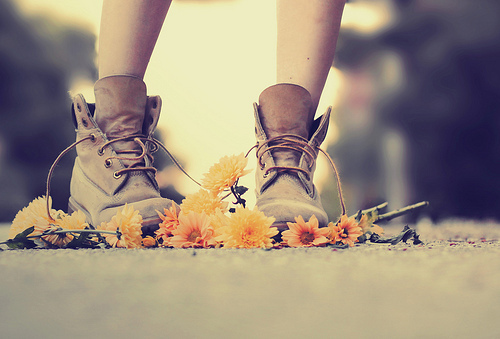 boots, comfortable, fashion, flowers, girl, leather, nature, outdoors, shoelace, shoes, style, tie