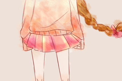 bow, braided, drawing, girl, long hair, pink, skirt, sweater