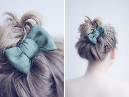 bow, hair, hairstyle, messy bun, First Set on Favim.com