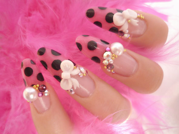 bows, cute, fashion, kawaii, nail art