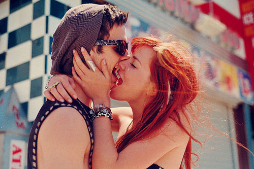 boy, cute, girl, kiss, love, red hair