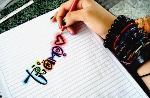 bracelets, colourful, cool, girl, love, pencil, te amo, writing