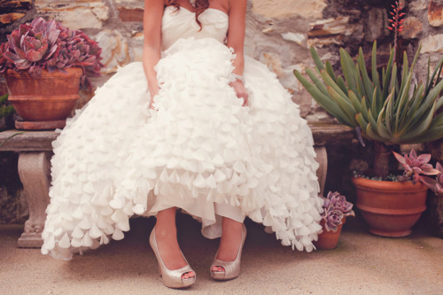 bride, brunette, dress, dress perfect, fashion, flower pots, flowers, girl, heels, photography, plants, shoes, wedding, wedding dress, white