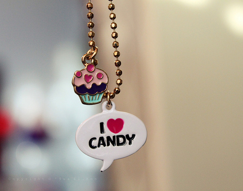 candy, cup cake, love, necklace