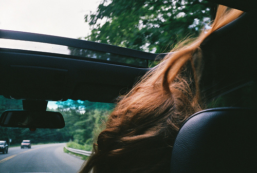 car, drive, girl, hair, hipster
