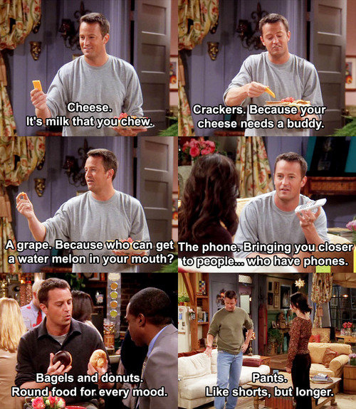 chandler, cheese, crackers, donuts, friends, funny, grapes, pants, phone, pictures, quote, quotes