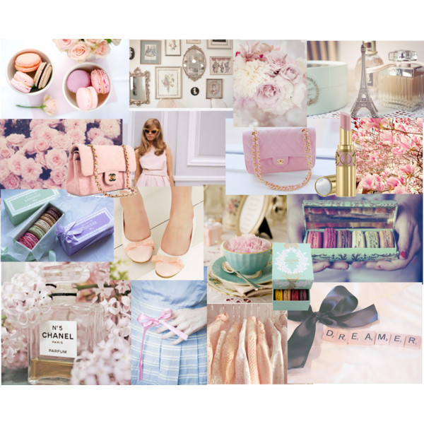 chanel, fashion, girl, laduree, macarons, miss dior, paris, pastels, pink, polyvore, roses