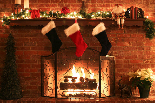 christmas, cozy, fire, fire place, photography, stockings, winter