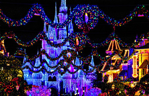 christmas, disney, disneyland, festive, lights, pretty, princess castle, xmas