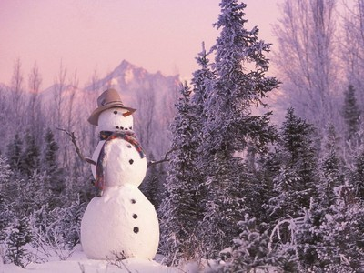 christmas, forest, snow, snowman, winter