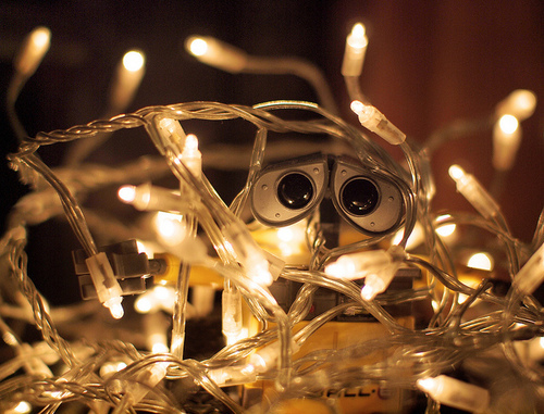 christmas, lights, photography, wall-e