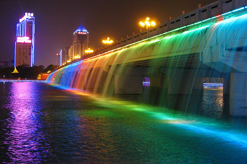 city, lights, photography, rainbow, waterfall