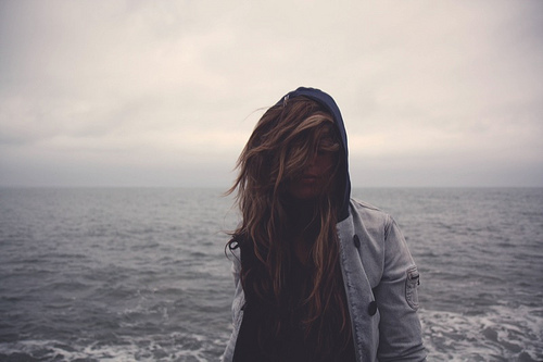 clouds, fashion, girl, hair, ocean