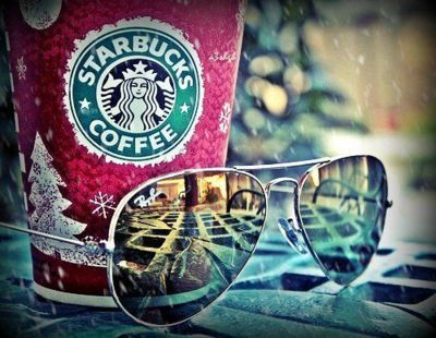 coffee, starbucks, summer, sun, sunglasses