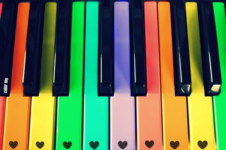color, colorful, hearts, piano, rainbow