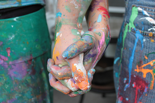 colors, colourful, couple, cute, hand, hands, hold, love, paint, photography