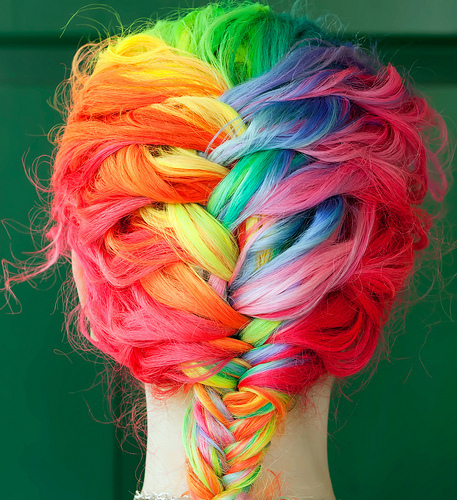 colourful, girl, hair, hipster