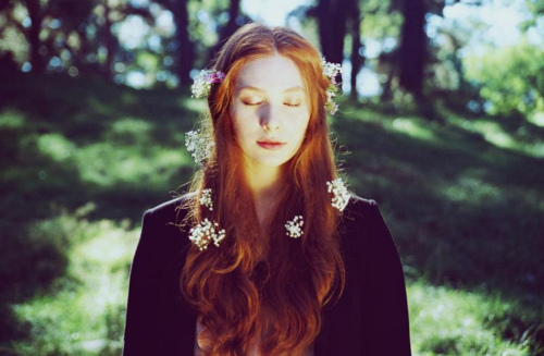 contemplative, flowers, forest, hair flowers, mori lifestyle, nature, red, red hair, witchy
