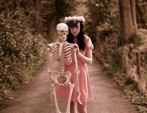 couple, cute, fashion, florals, girl, pink, skeleton, vintage