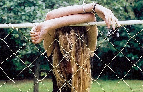 covered, emotion, fence, girl, hair