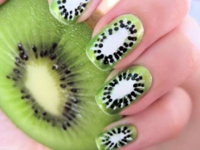 creative, funky, kiwi fruit, nail art, nails