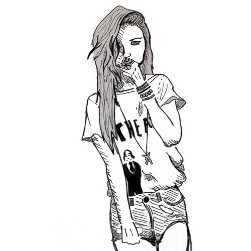 cute, drawing, fashion, girl, hair