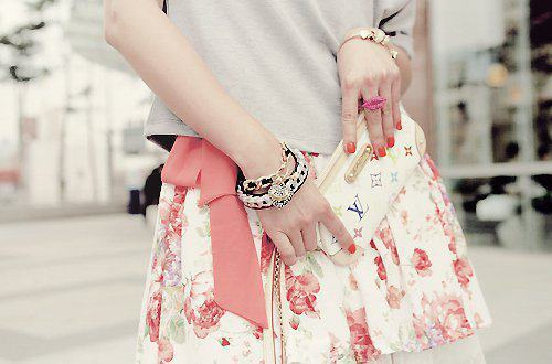 cute, fashion, floral print, louis vuitton, nail polish, nails, red