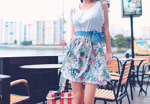 cute, floral, flower, outfit, shirt, skirt, vintage, white
