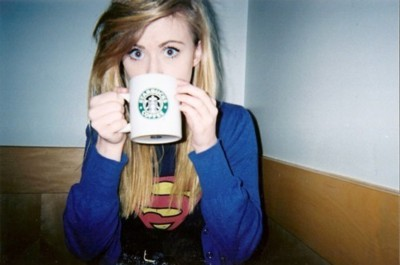 cute, girl, hipster, indie, pretty, starbucks, super man, superman