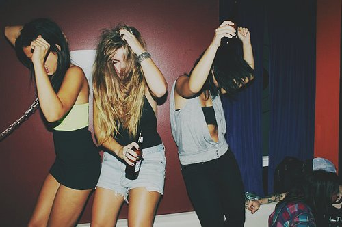 dance, drink, girls , hands up, party
