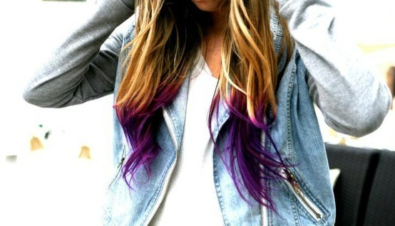 dip dye, hair, purple