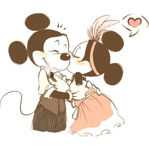 Mickey y Minnie Mouse besandose - Imagui